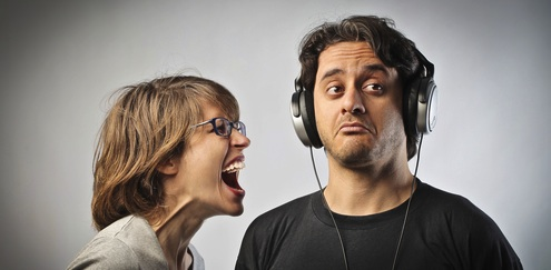 angry woman shouting at man