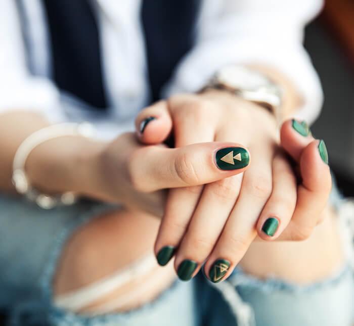 stylish girl with nail art