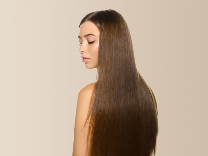 beautiful woman straight hair