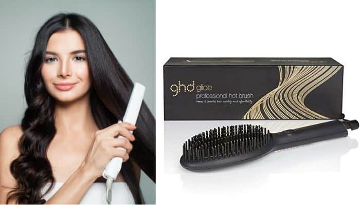 beautiful woman using ghd brush